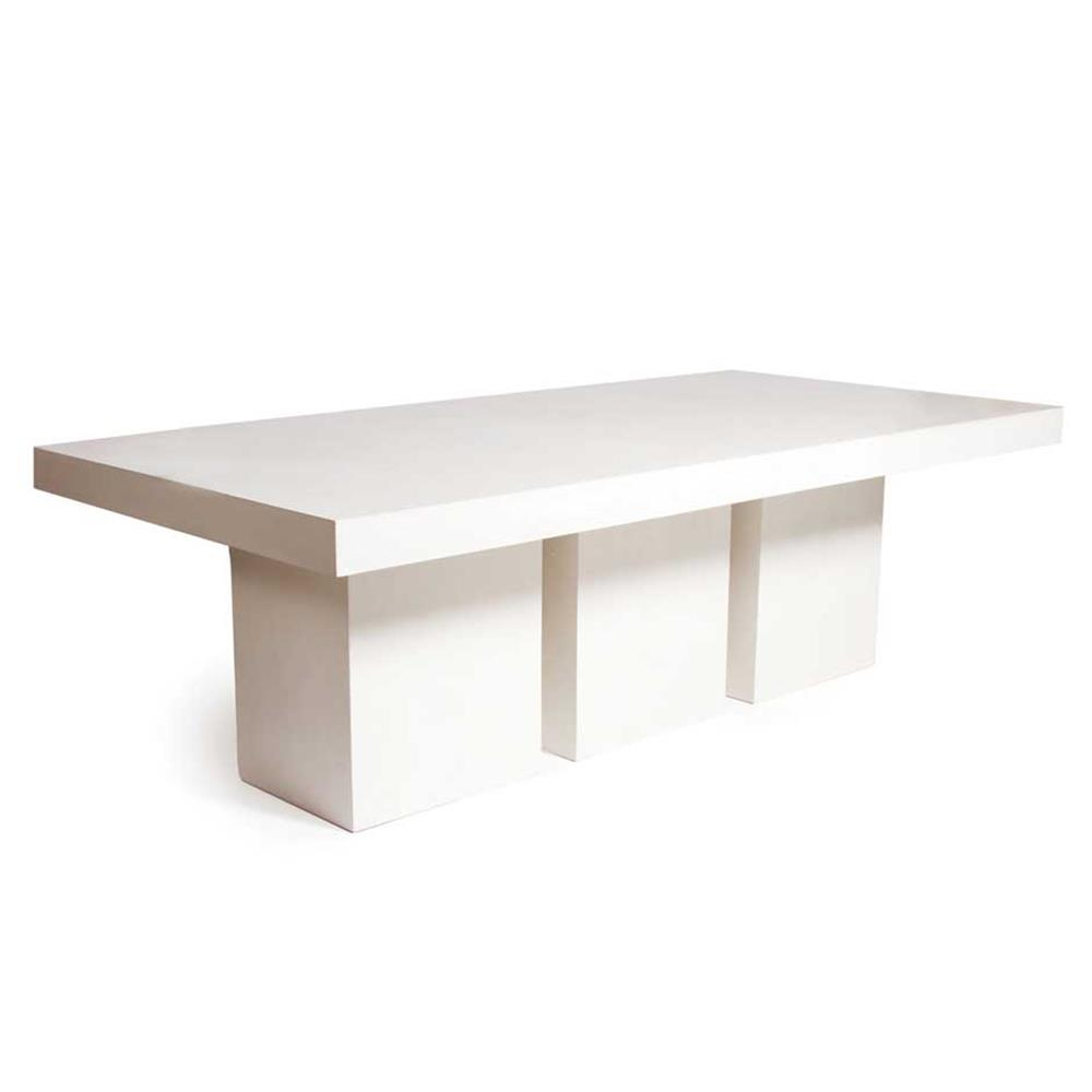 Cyrus Modern Rectangular White Concrete Outdoor Dining Table