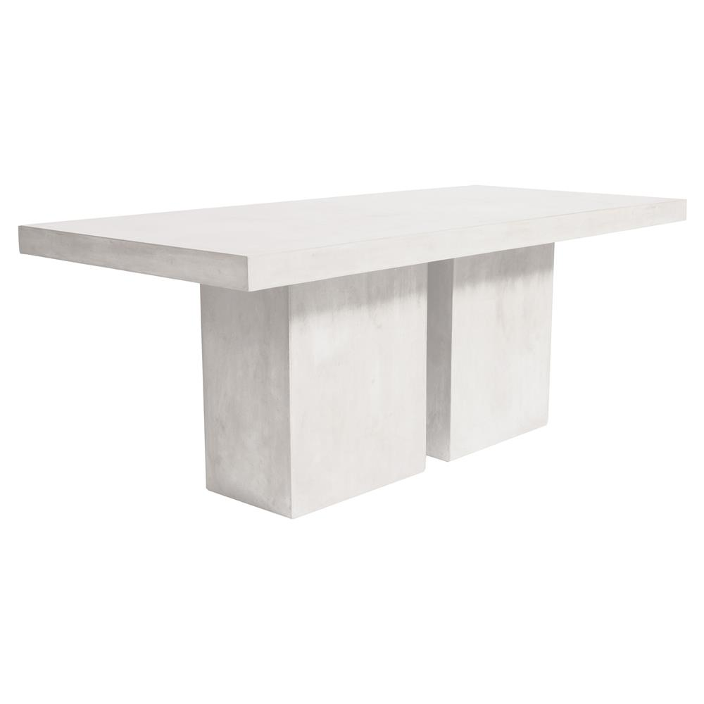 Cara Modern Rectangular White Concrete Outdoor Dining Table - White rectangular outdoor dining table