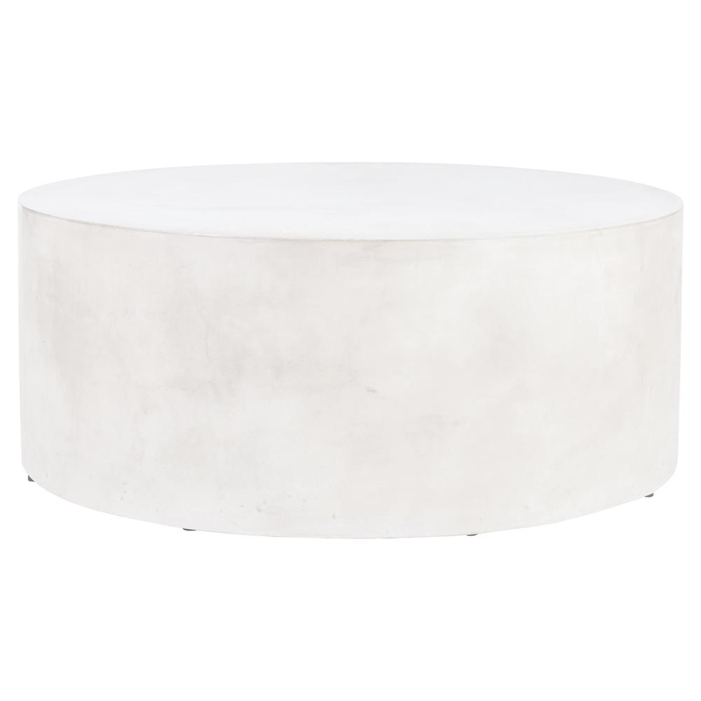 Cecil Modern Round White Concrete Outdoor Coffee Table | Kathy Kuo Home