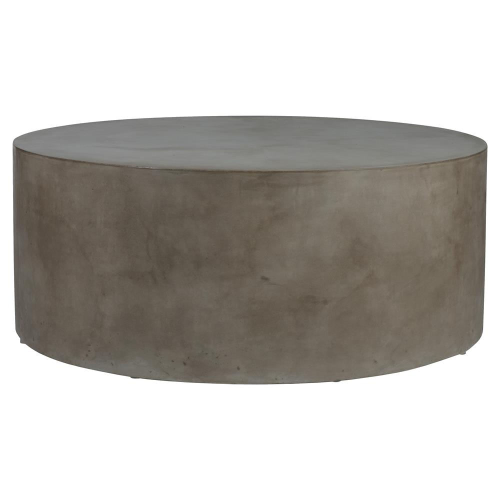 Modern Round Wooden Coffee Table 110: Cecil Modern Round Grey Concrete Outdoor Coffee Table