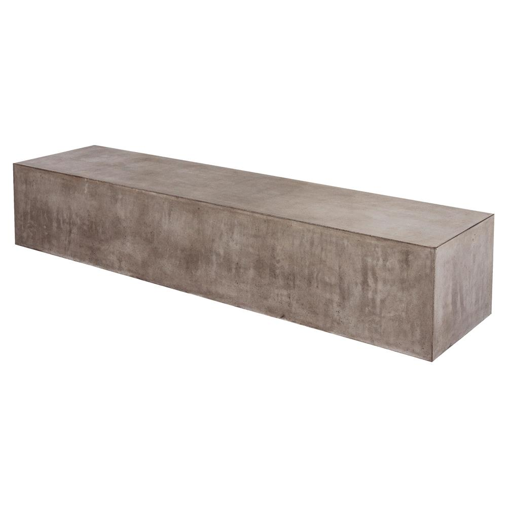 Modern Concrete Benches: Corbin Modern Grey Concrete Outdoor Bench