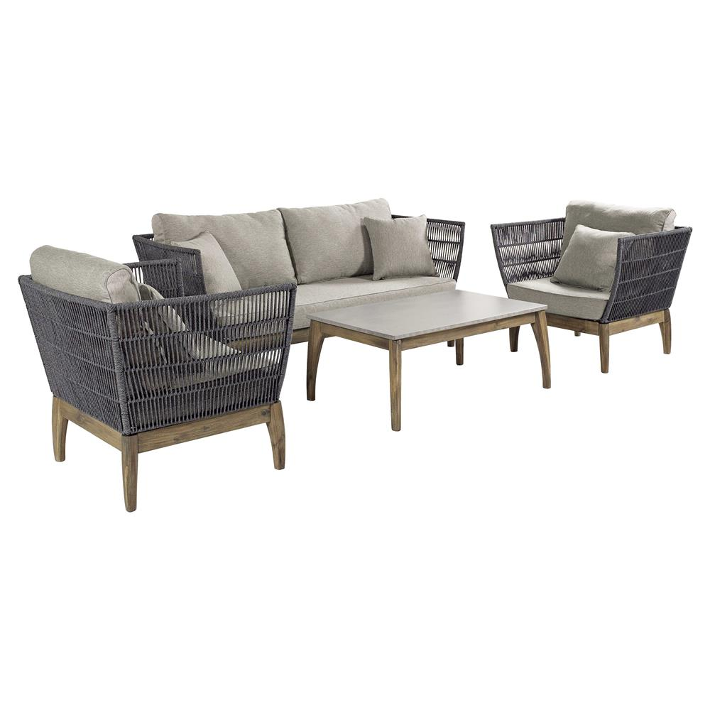 Cade coastal regatta rope acacia wood concrete outdoor furniture set of 4 kathy kuo