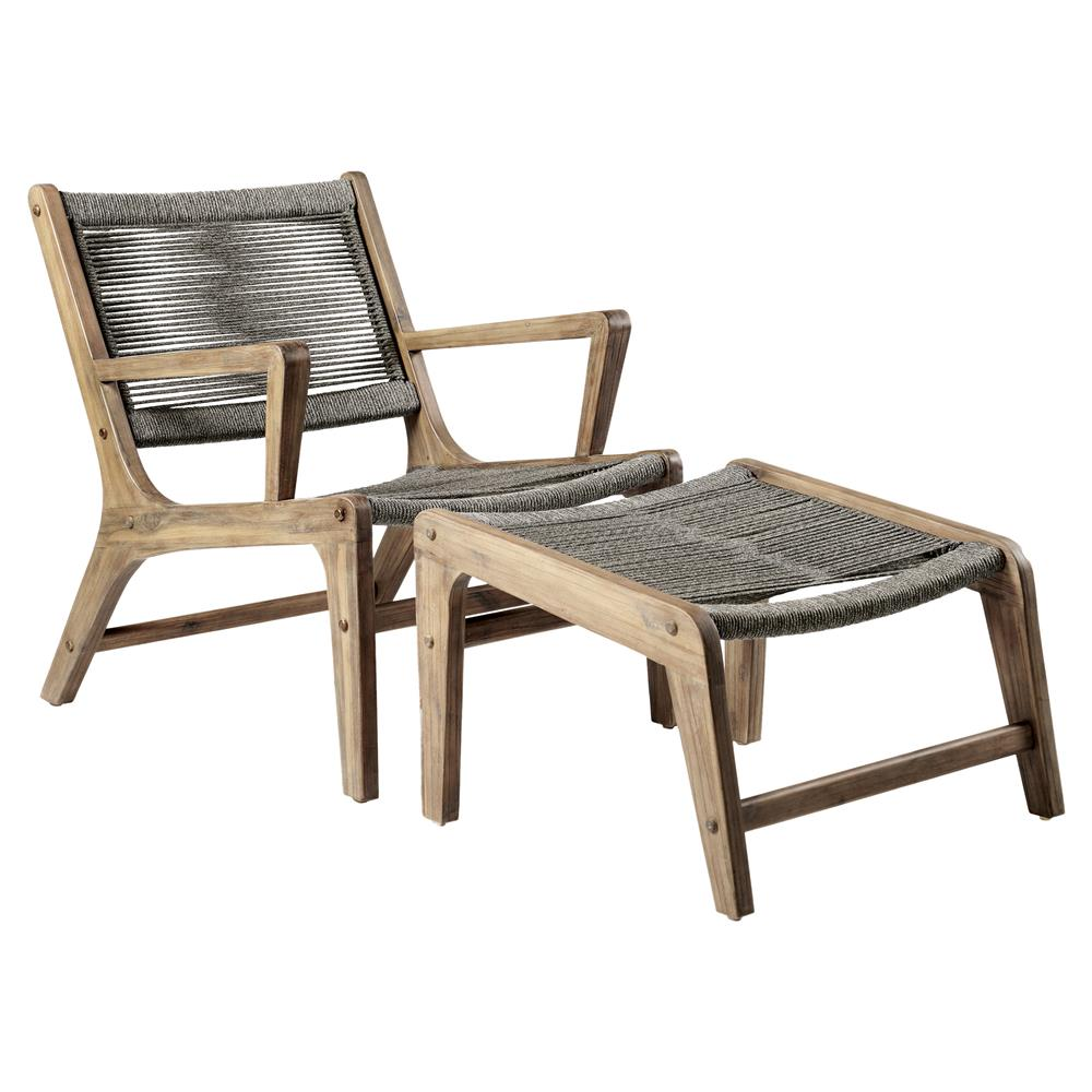 Cade coastal regatta rope acacia wood outdoor 2 chaise lounges 2 ottomans kathy kuo home