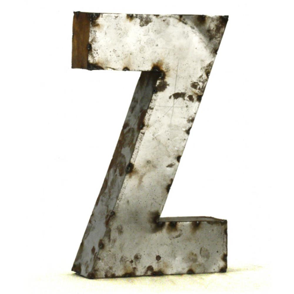 Industrial rustic metal small letter z 18 inch kathy kuo for 18 inch metal letters