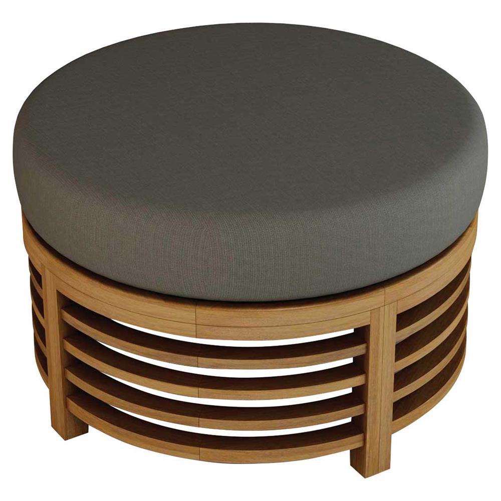 Joy Modern Round Grey Sunbrella Upholstered Teak Outdoor Ottoman Kathy Kuo Home