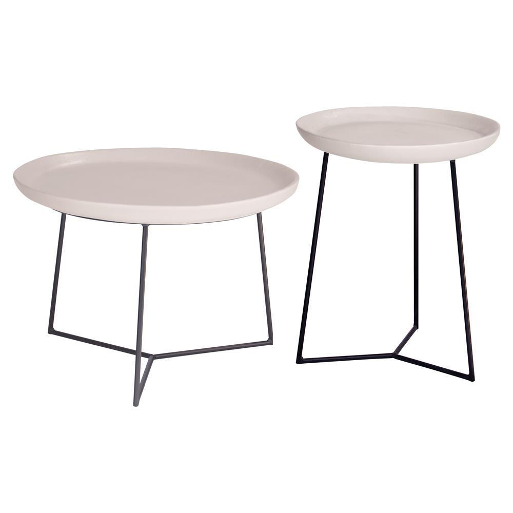 Kate Modern Round White Ceramic Top Metal Outdoor Side End Table Kathy Kuo Home