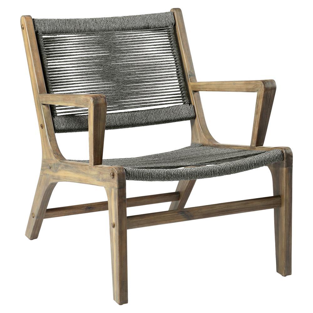 Santiago Coastal Regatta Rope Acacia Wood Outdoor Lounge Chair Kathy Kuo Home