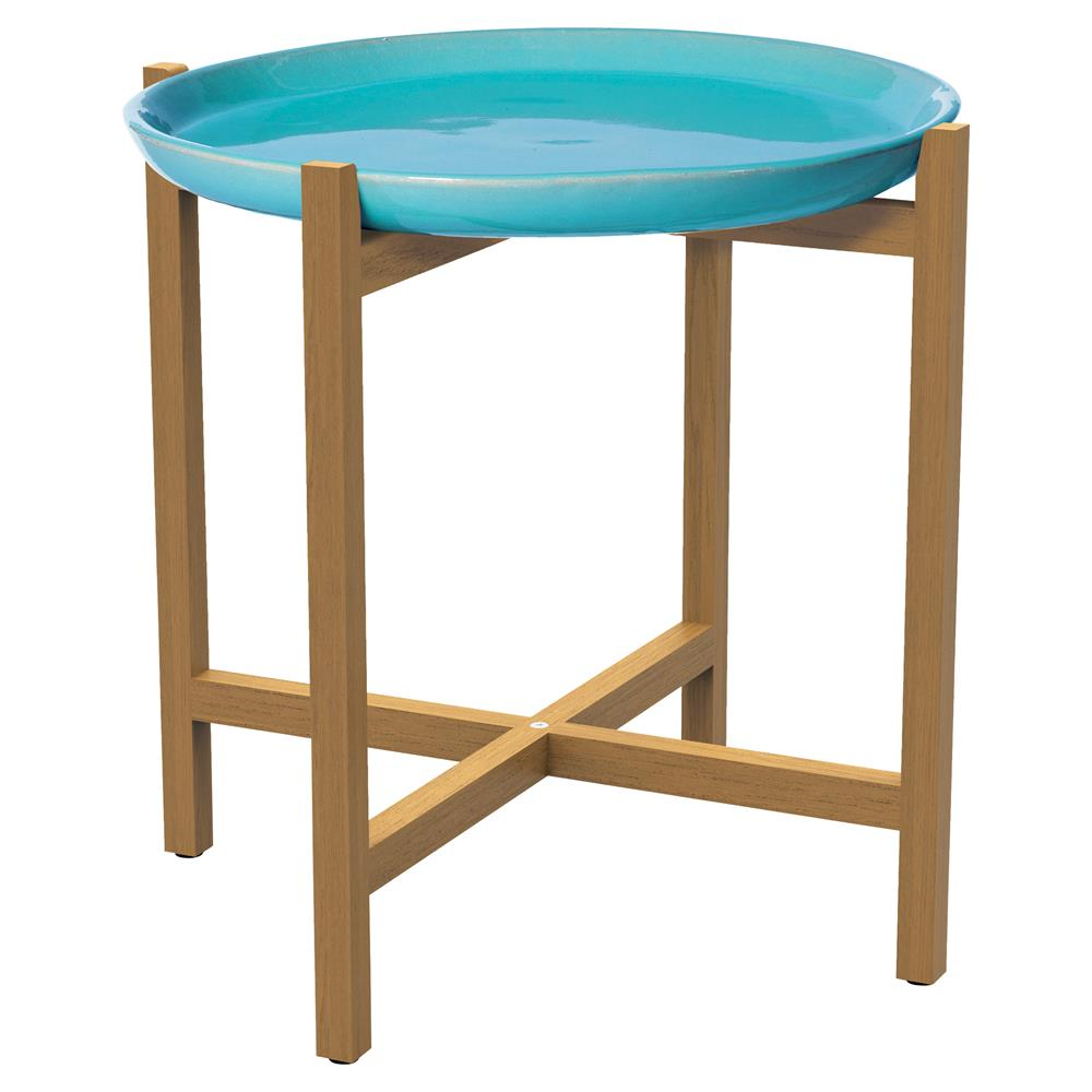 Kate Modern Round Ceramic Top Teak Outdoor Side End Table Kathy Kuo Home
