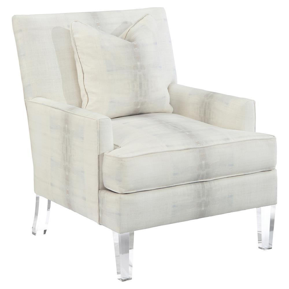 John richard modern classic ivory upholstered acrylic leg track arm chair kathy kuo home