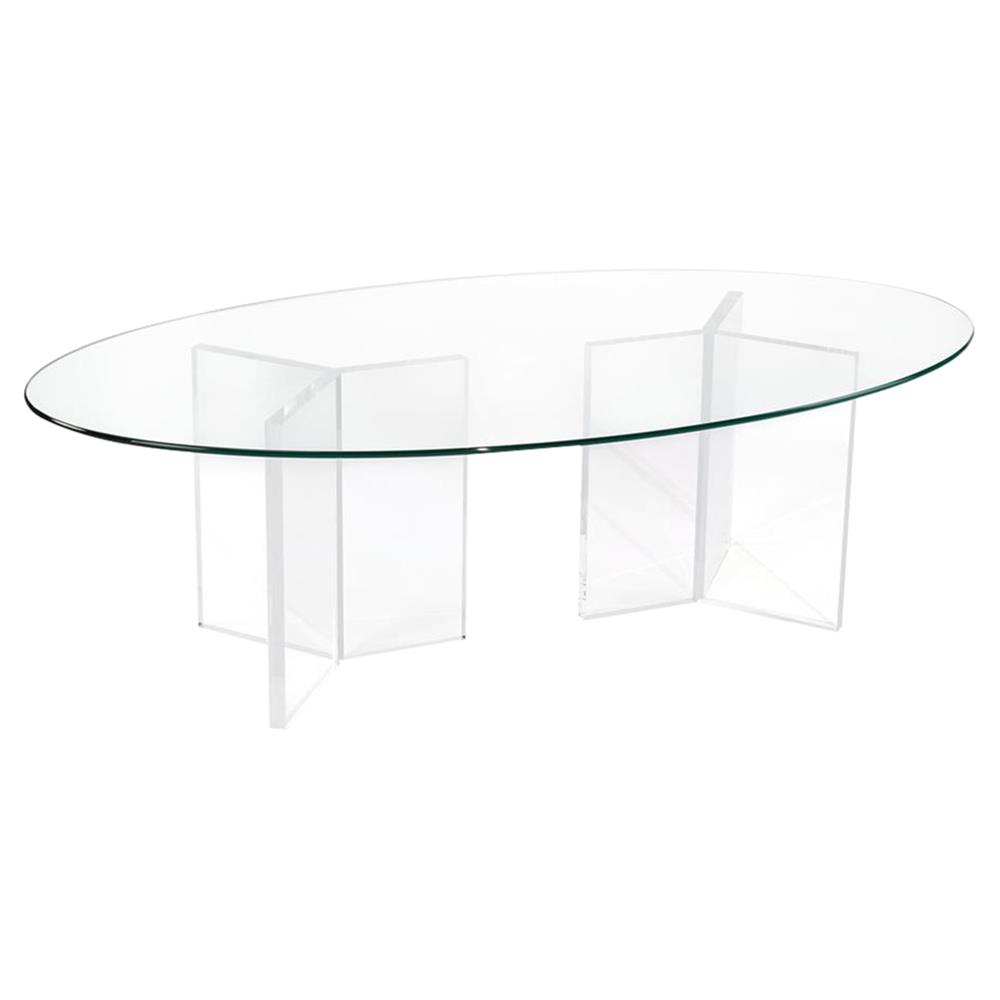 John Richard Modern Classic Acrylic Glass Oval Coffee Table | Kathy Kuo Home