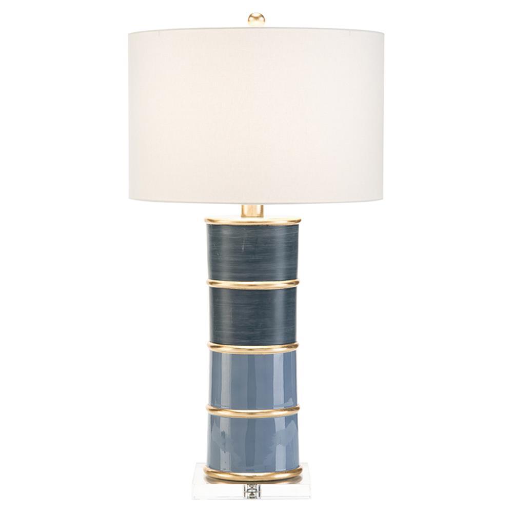 John Richard Modern Classic Pillar Sapphire Resin Acrylic Base Table