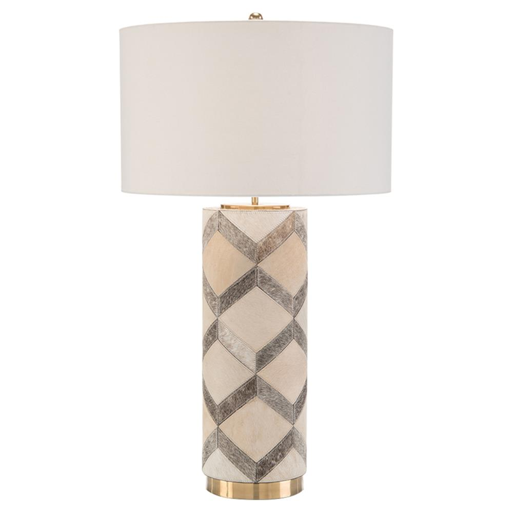 John Richard Modern Classic Hair On Hide Patterned Leather Table Lamp