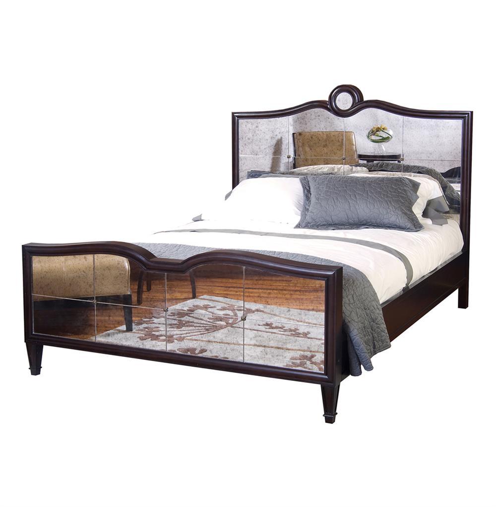 Greyson espresso lux mirrored hollywood regency queen bed for Mirror queen bed