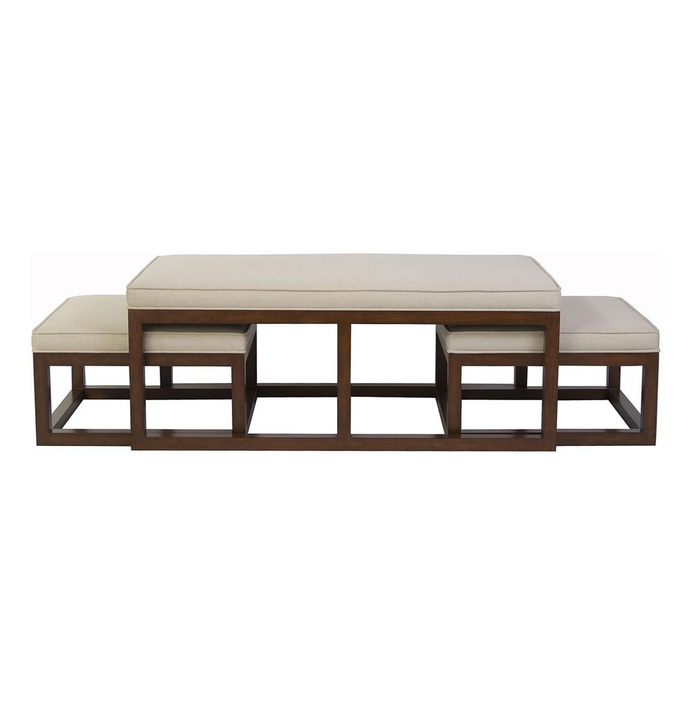 Chatham Brown Coffee Table Ottoman With Stools Natural Linen