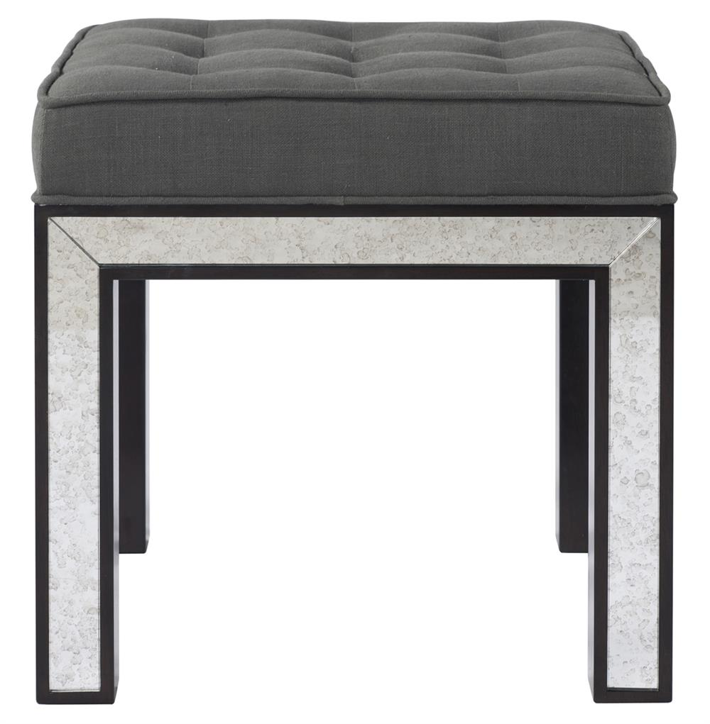Eden Hollywood Regency Mirrored Ottoman Smoke Gray Tufted Seat | Kathy Kuo  Home - Eden Hollywood Regency Mirrored Ottoman Smoke Gray Tufted Seat
