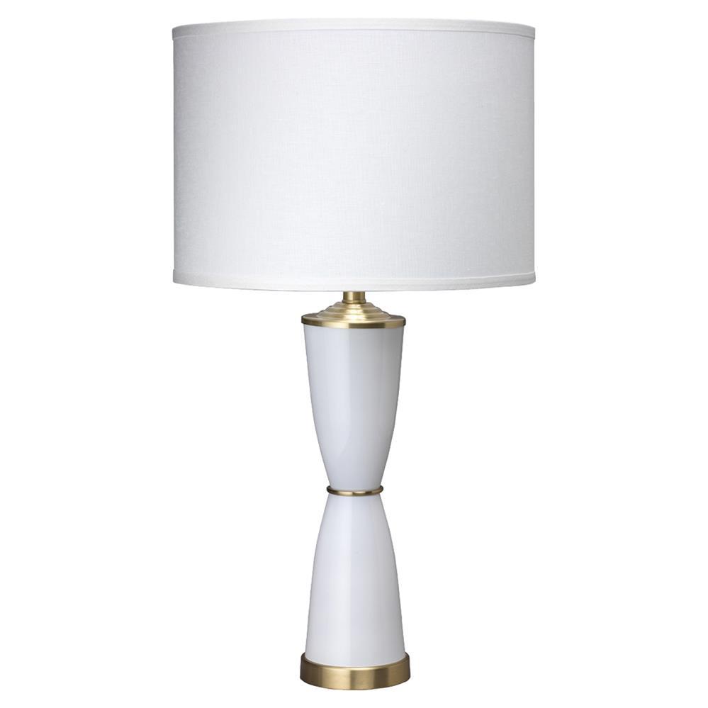 rachel mid century modern white glass white linen shade table lamp. Black Bedroom Furniture Sets. Home Design Ideas