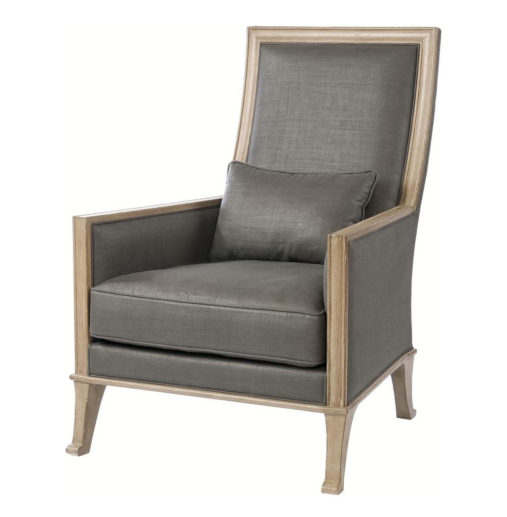 Riley contemporary steel grey linen high back accent chair for Contemporary armchair