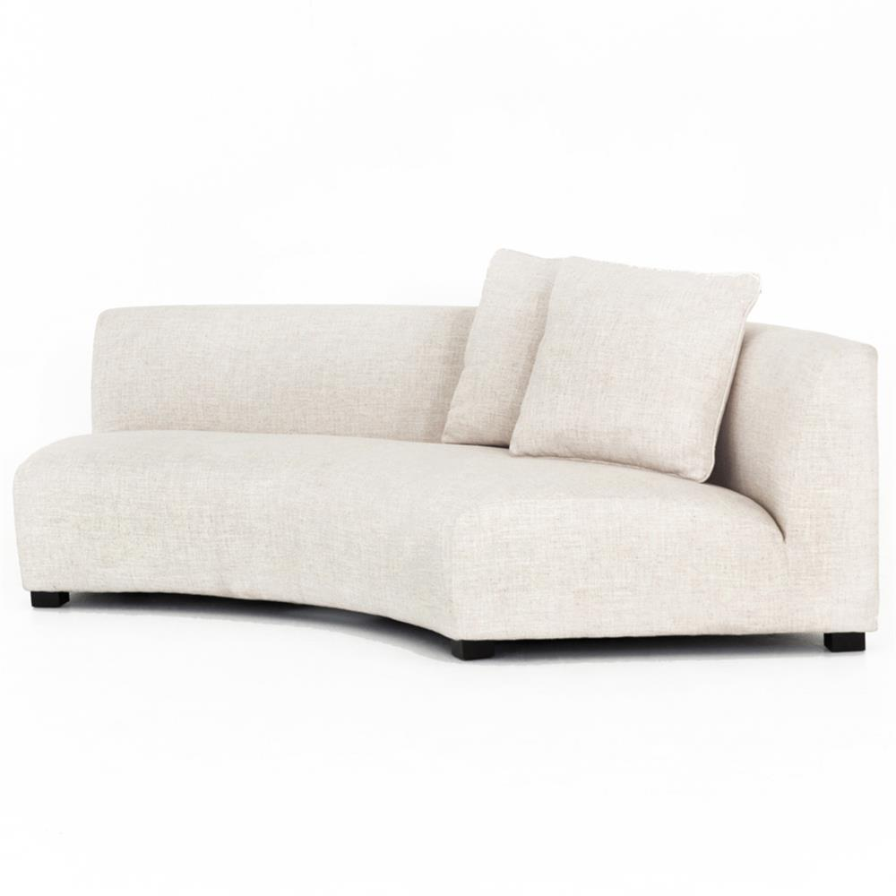 Zoe modern classic curved crescent cream upholstered sofa right arm facing kathy kuo home