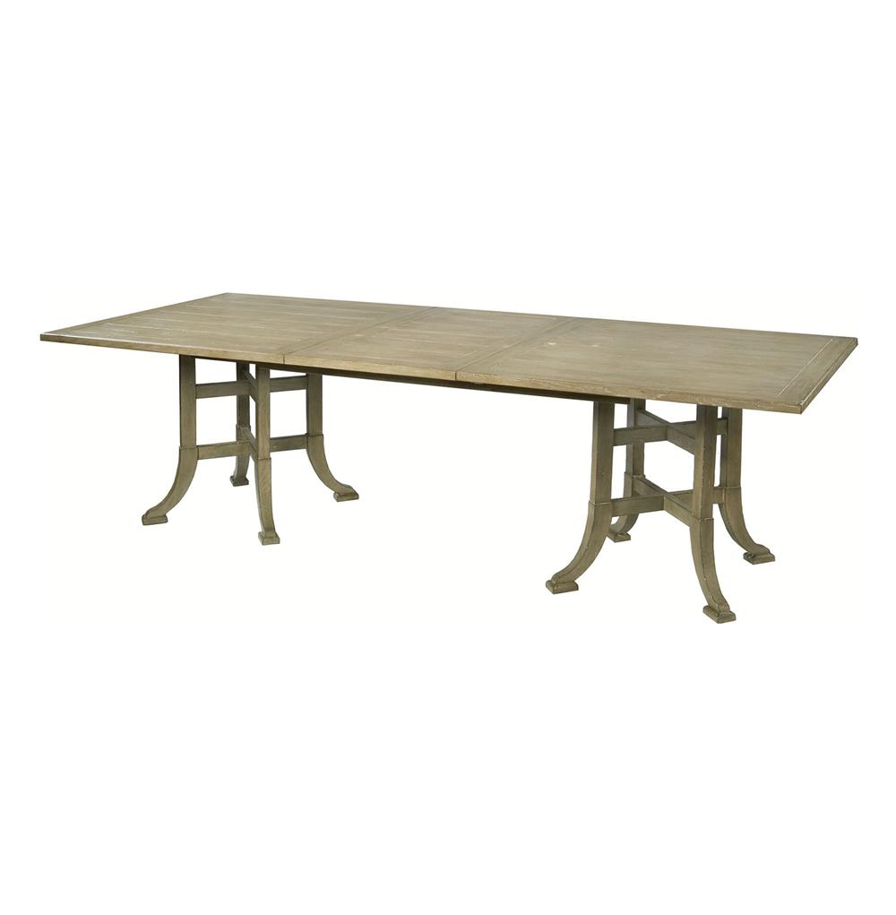 Garrett english farmhouse double pedestal grey wash dining for Farmhouse dining table