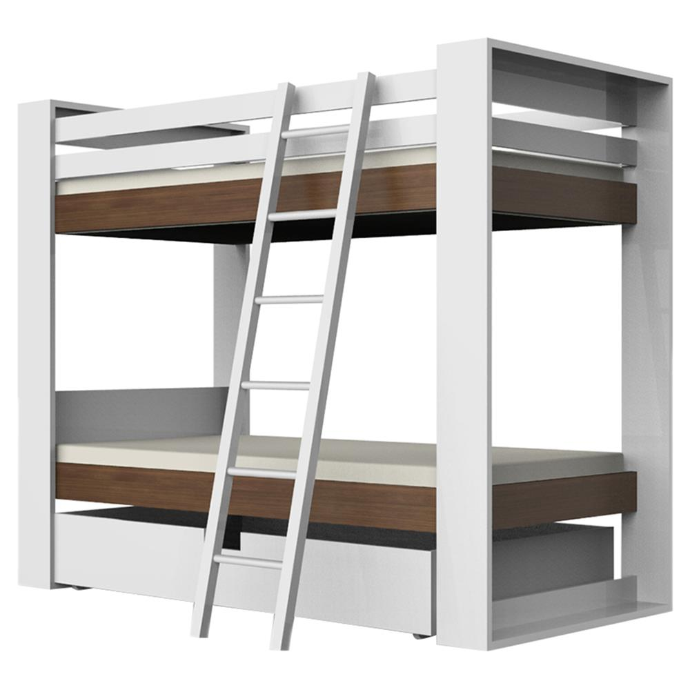 Ducduc Austin Modern White Natural Walnut Trundle Kids Bunk Bed Twin Kathy Kuo Home