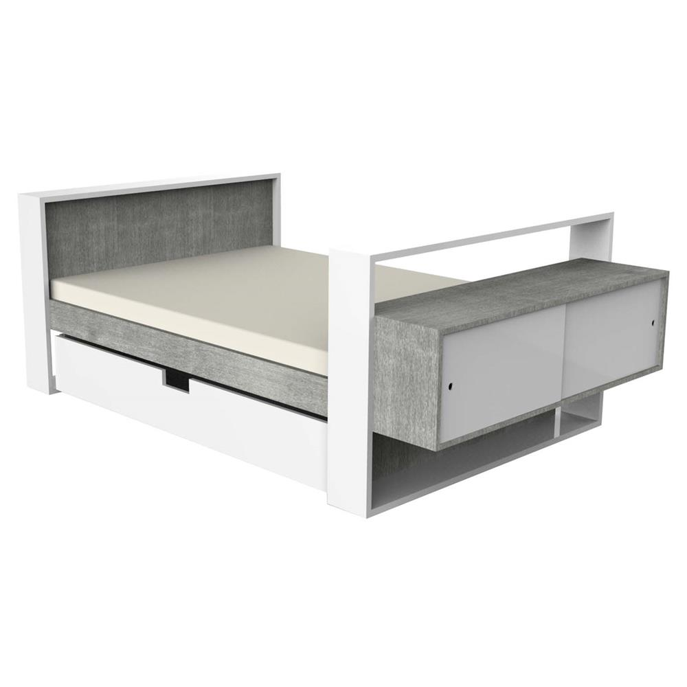 Ducduc Austin Modern White Weathered Trundle Kids Bed Full Kathy Kuo Home
