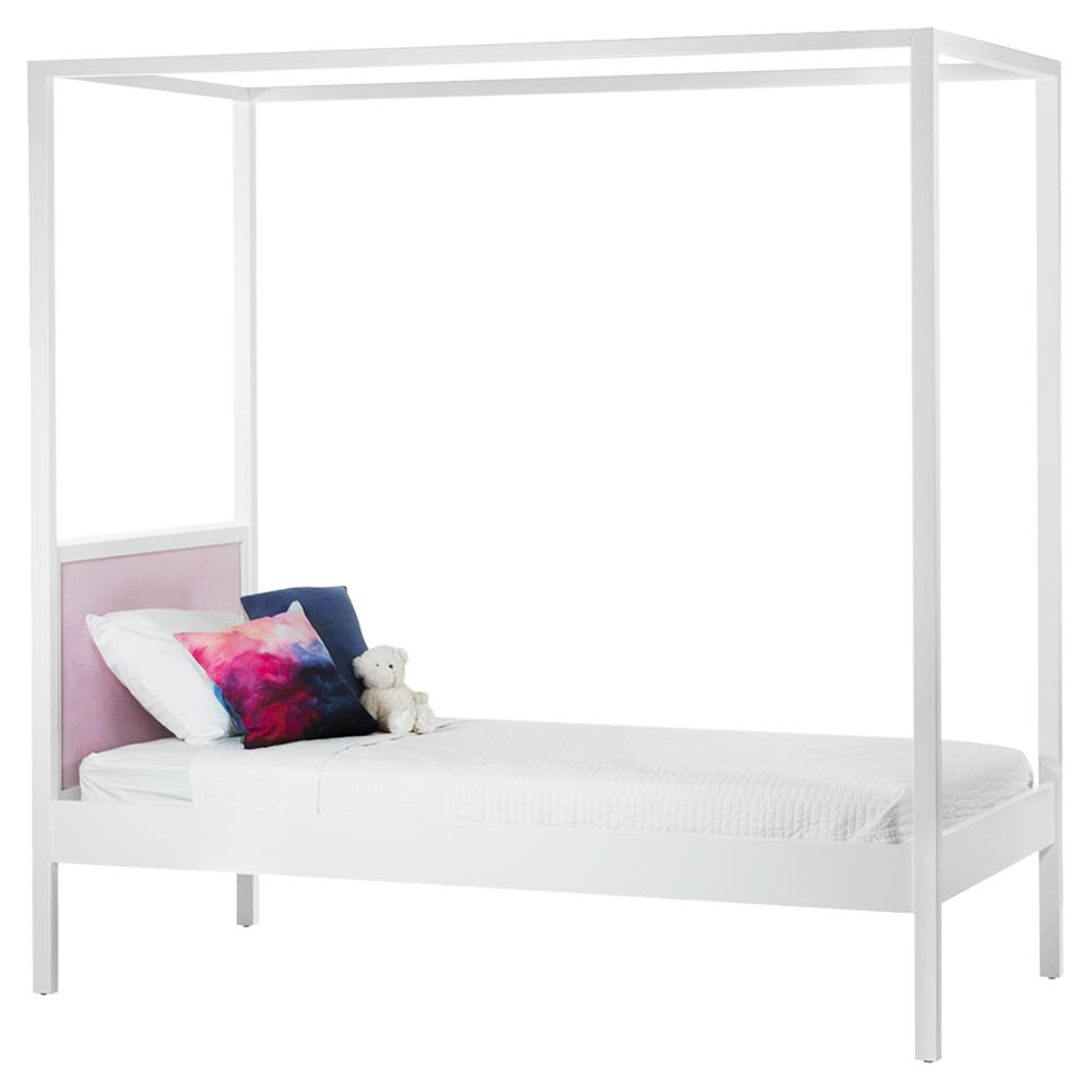 ducduc Cabana Modern Pink Upholstered White Kids Canopy Bed - Twin
