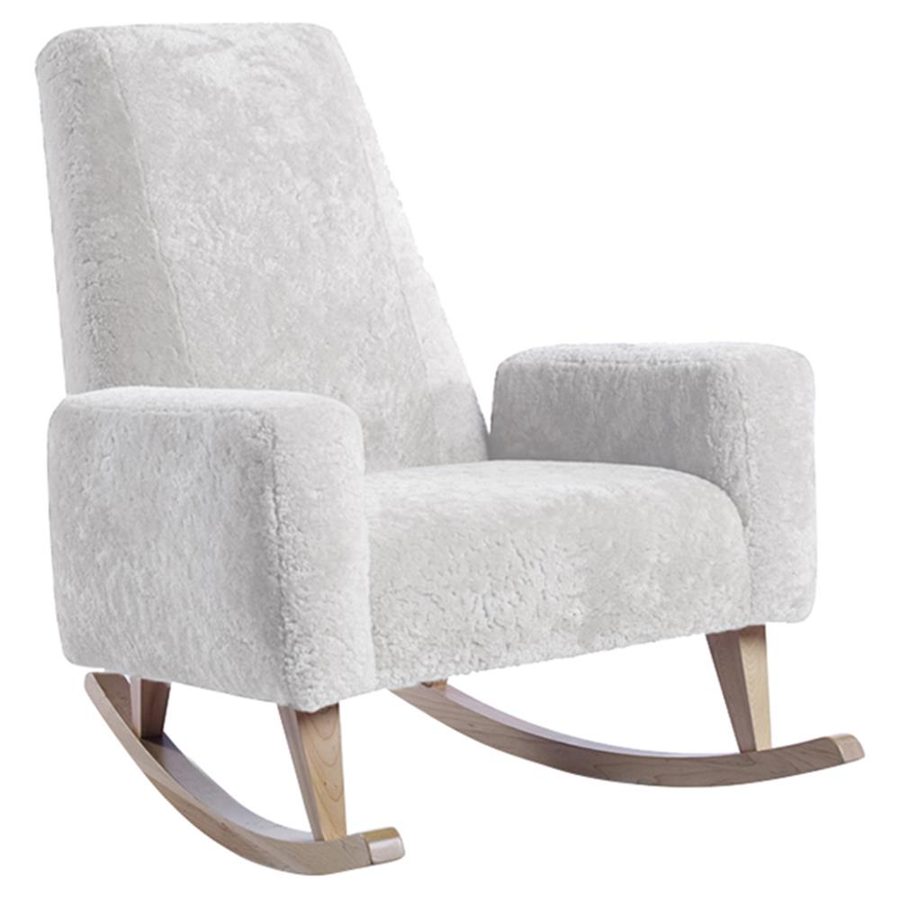 Ducduc Collins Modern White Shearling Natural Maple Rocking Chair | Kathy  Kuo Home