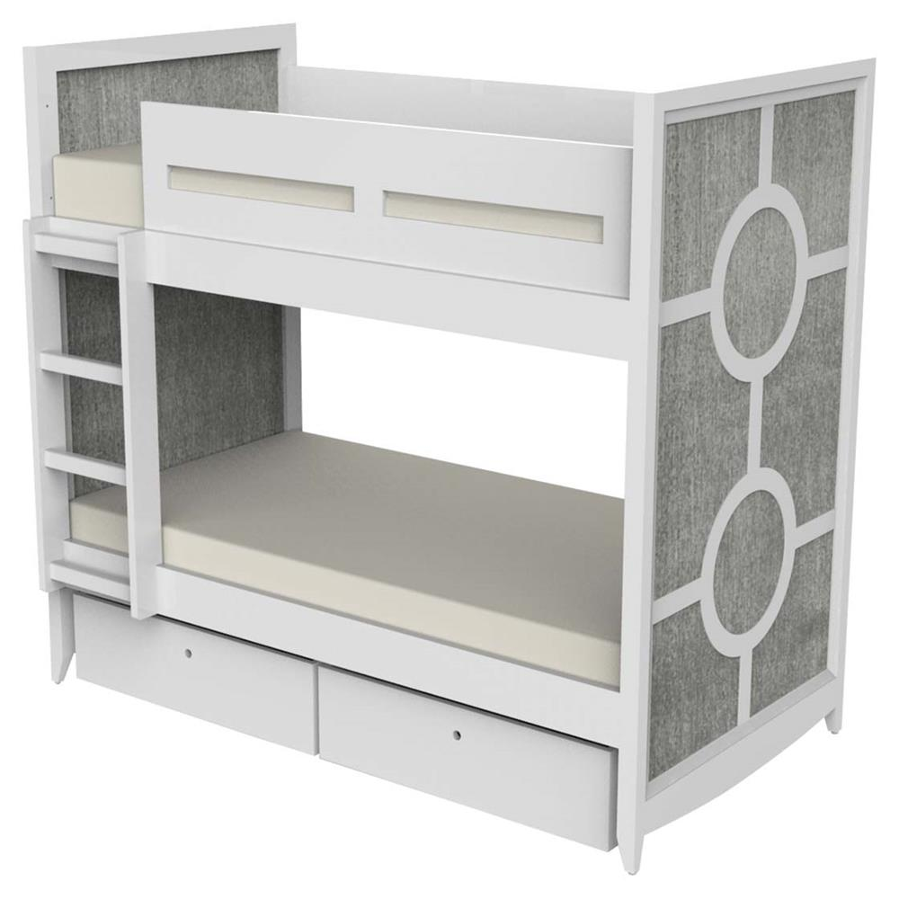 Ducduc Regency Modern White Weathered Grey 2 Drawer Kids Bed Twin Kathy Kuo Home