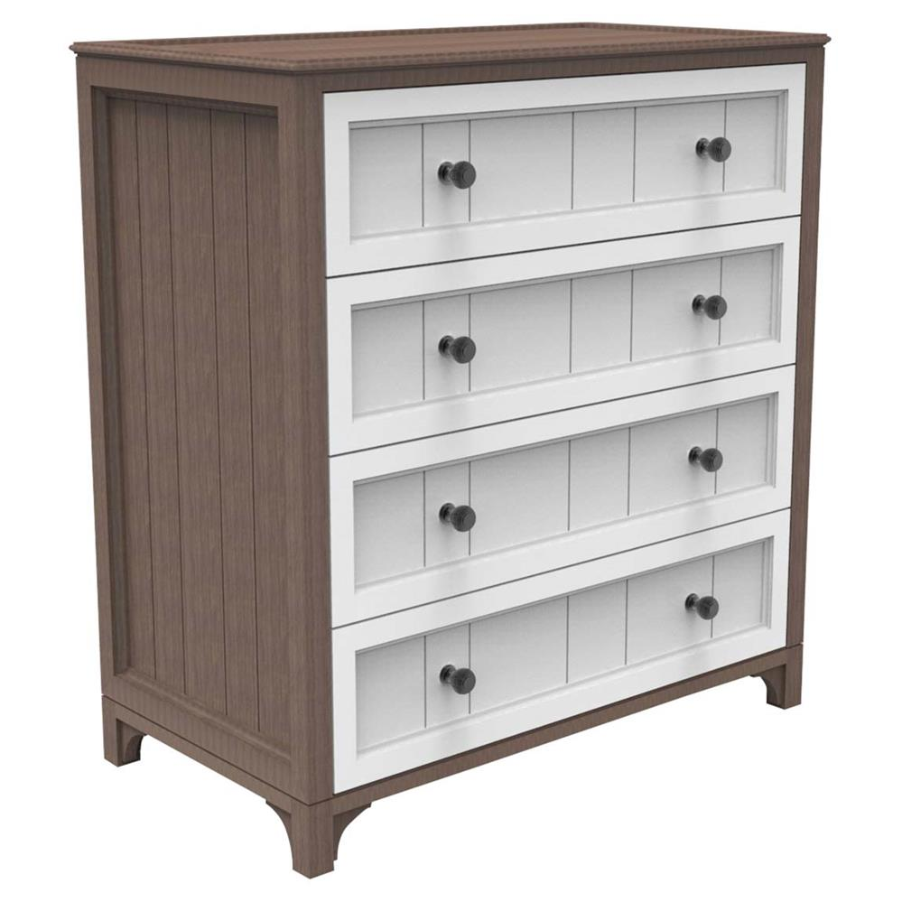 Ducduc Stonington Modern Walnut Heavy White 4 Drawer Dresser Kathy Kuo Home