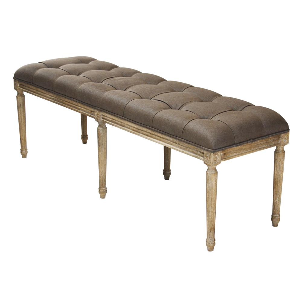 French Country Louis Xvi Brown Linen Tufted Oak Long Bench