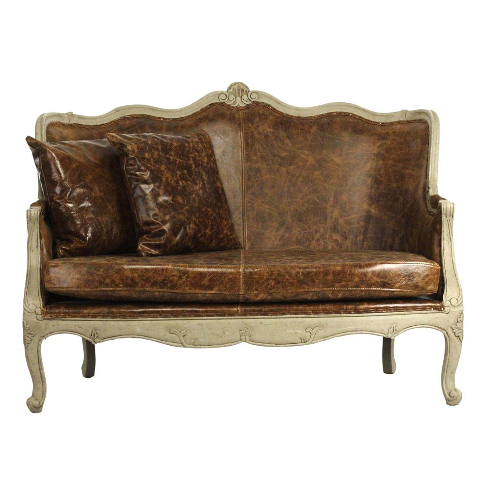 Adele French Country Top Grain Leather Burlap Settee Loveseat Kathy Kuo Home