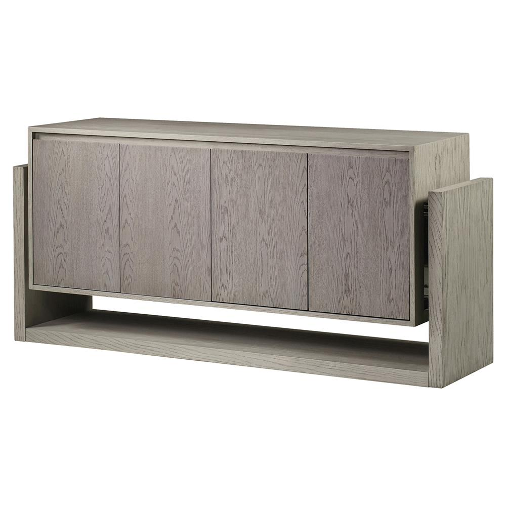 Resource Decor Newman Modern Classic Grey Wood 4 Door Buffet Sideboard