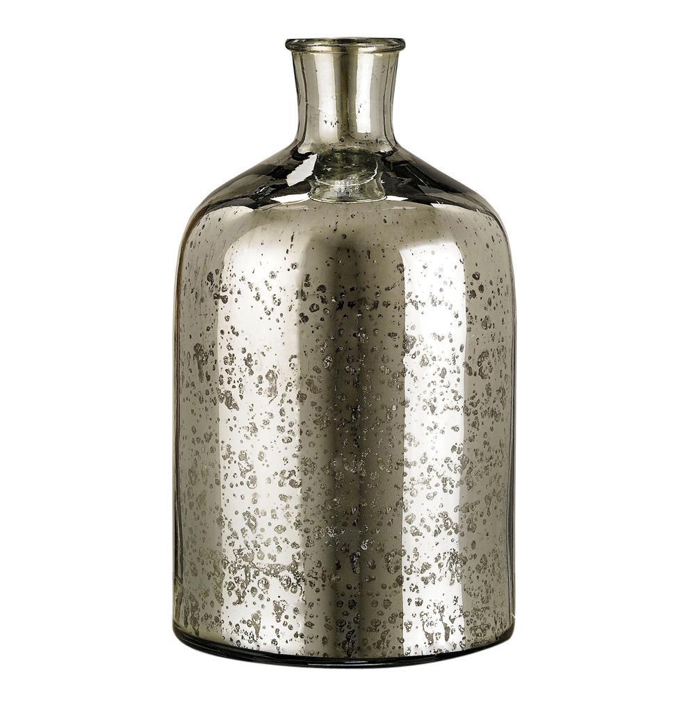 Cypress antique mercury glass decorative bottle 12 inch for Decoration glass