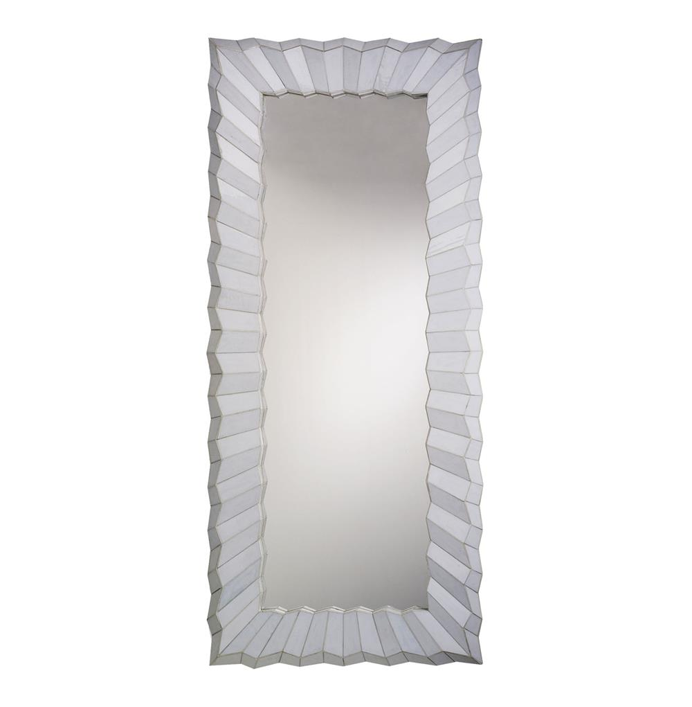Large modern floor length cut glass mirror 87 h kathy for Glass floor mirror