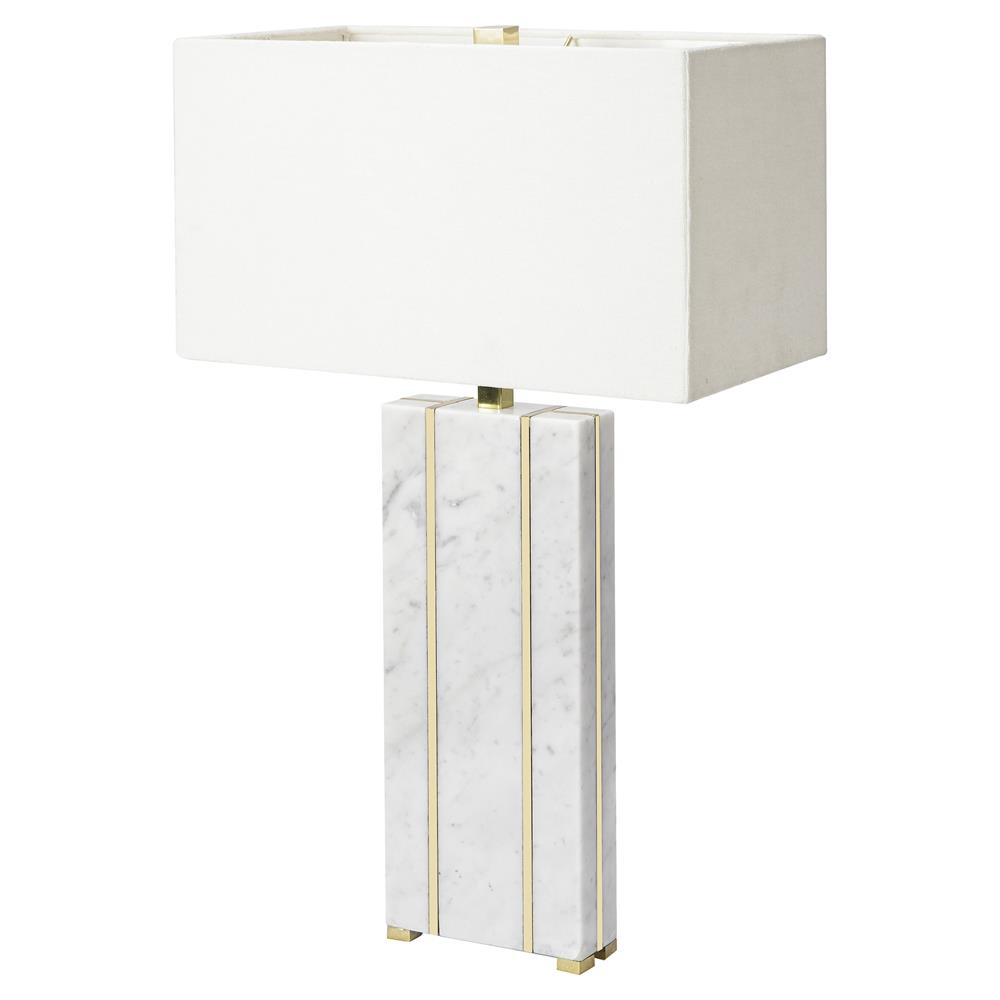 Nellcote Adalyn Modern Classic White Shade Marble Base Table Lamp