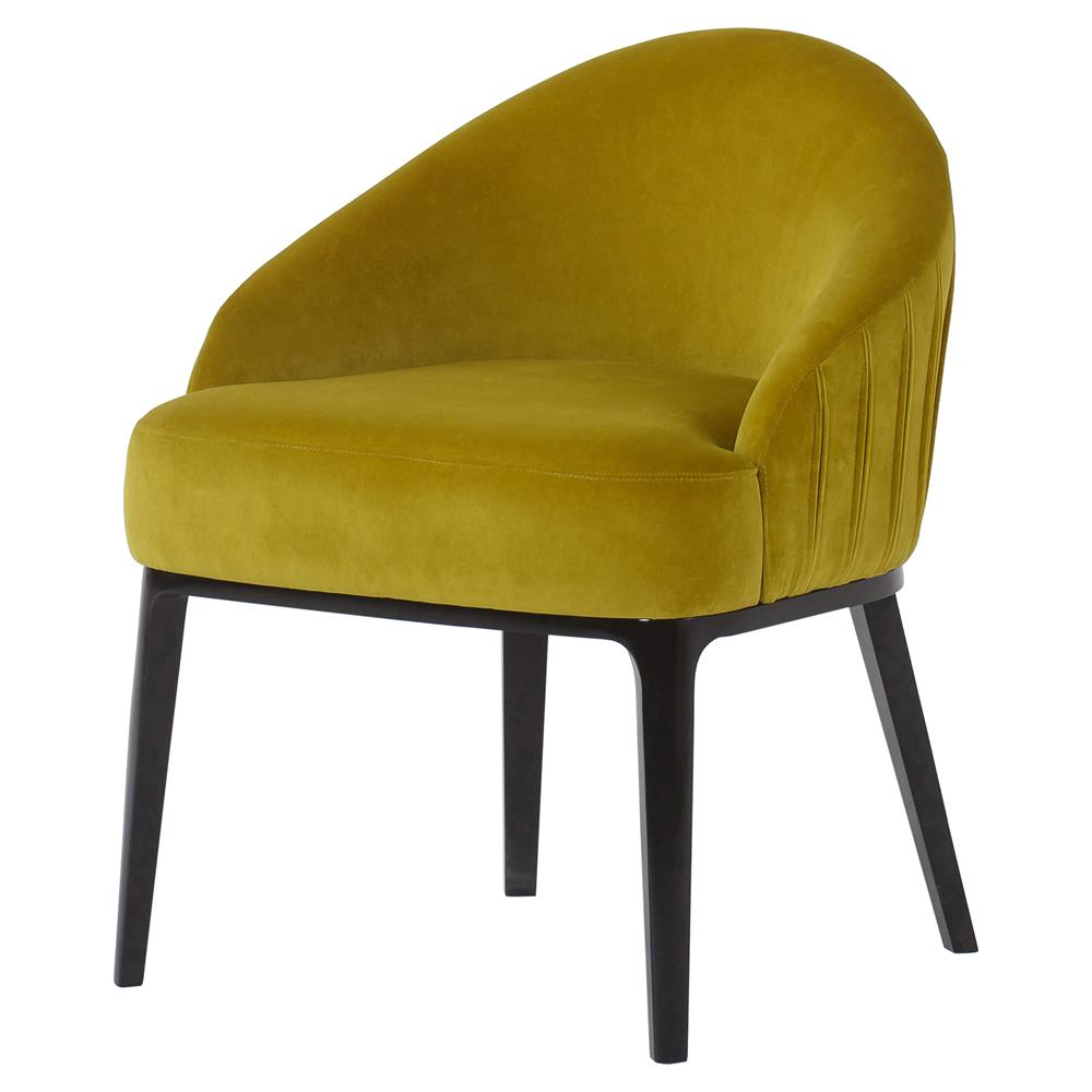 Andrew martin cersei modern classic yellow velvet wood dining side chair kathy kuo home