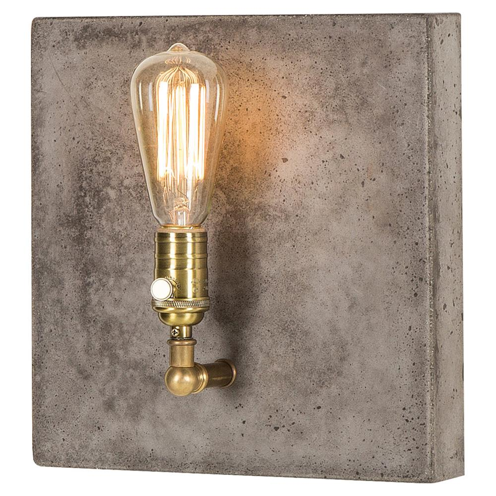 Nellcote Lia Modern Classic Aged Brass Grey Concrete ... on Aged Brass Wall Sconce id=27595