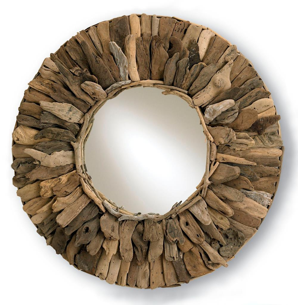 Bonita Rustic Round Driftwood 33D Mirror Kathy Kuo Home