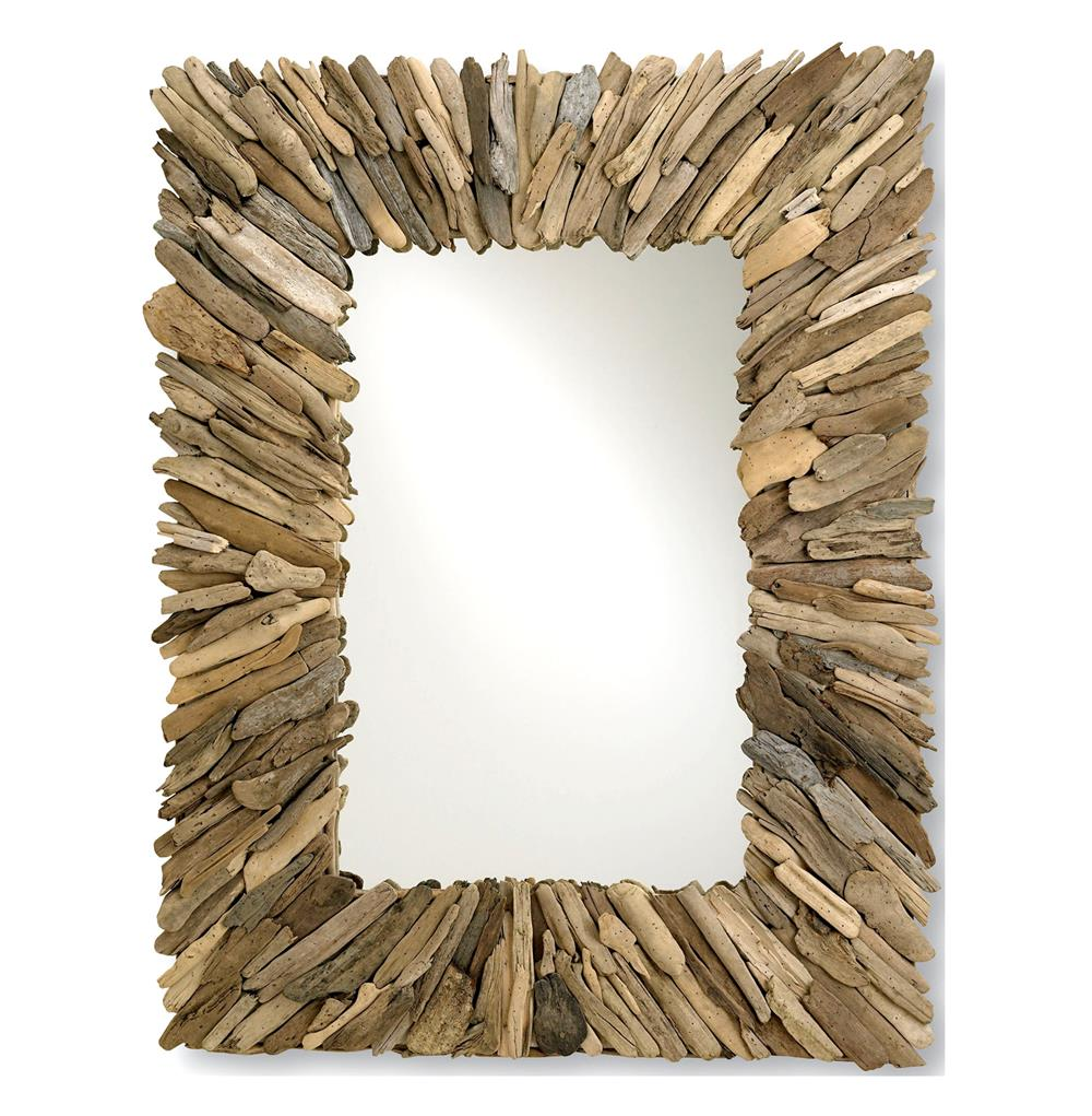 Bonita Coastal Beach Rectangular Rustic Driftwood Wall Mirror Kathy Kuo Home