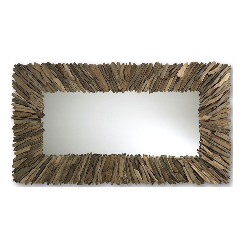 Bonita modern rustic driftwood long rectangle mirror 42 x 72 for Modern long mirror