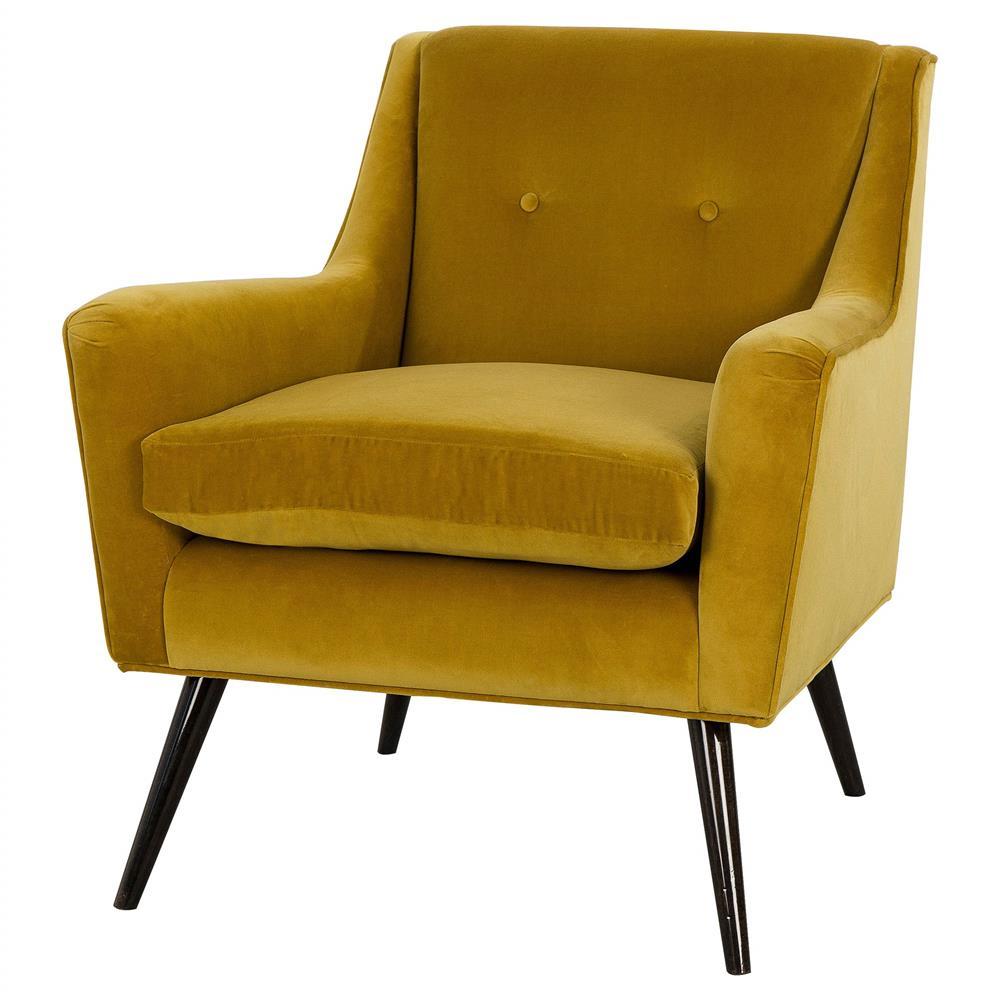Resource Decor Marlow Mid Century Modern Velvet Wood Living Room Chair