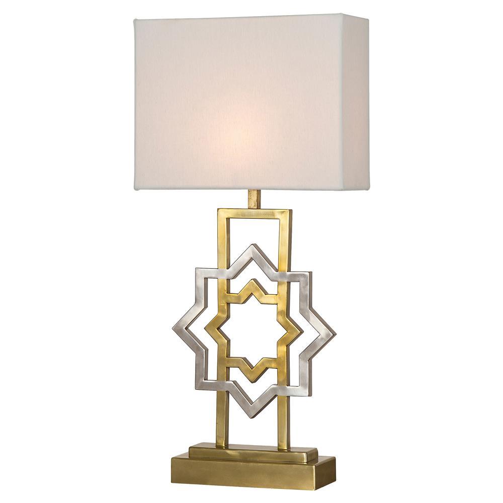 Boyd Maroc Modern Classic White Shade Gold Metal Base Table Lamp