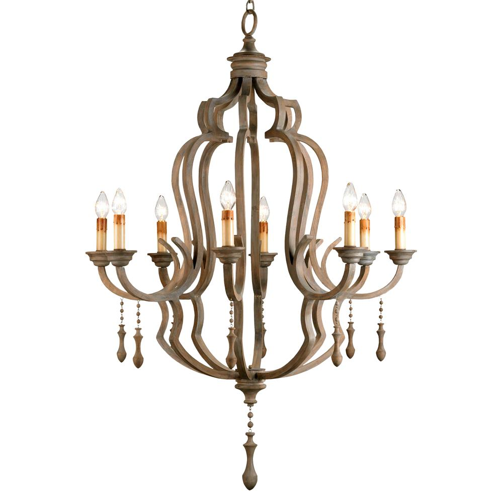 Normandy Large French Wood 8 Light Washed Grey Chandelier Kathy Kuo