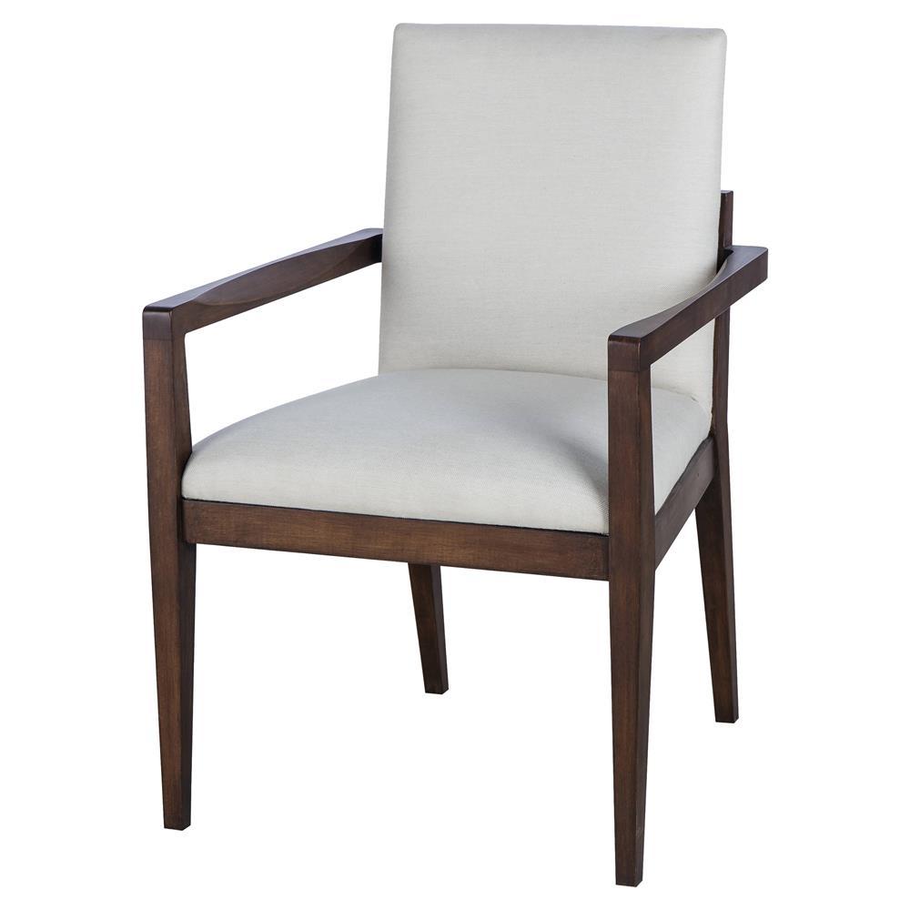 Maison 55 miranda modern classic white upholstered wood dining arm chair - Maison moderne diningchair ...