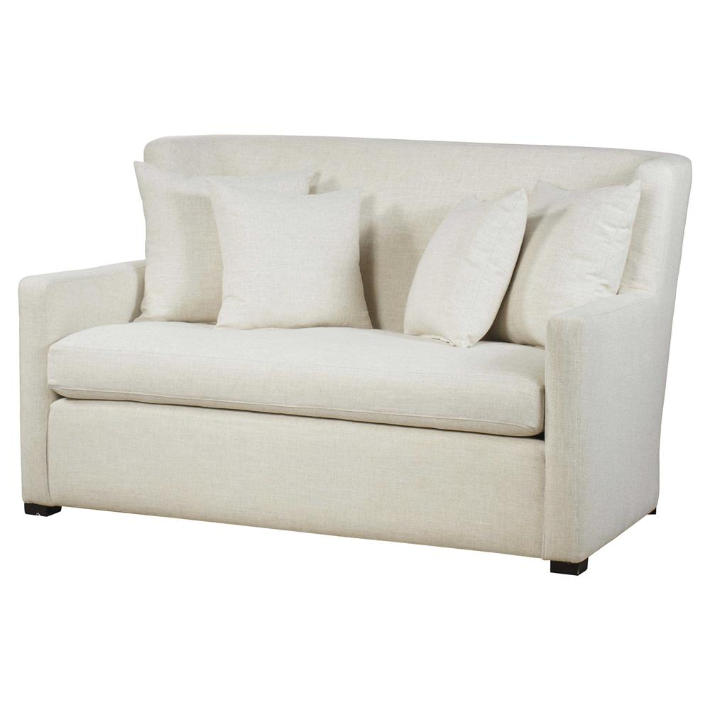 Maison 55 Payton Modern Classic White Upholstered Wood Loveseat Settee |  Kathy Kuo Home ...