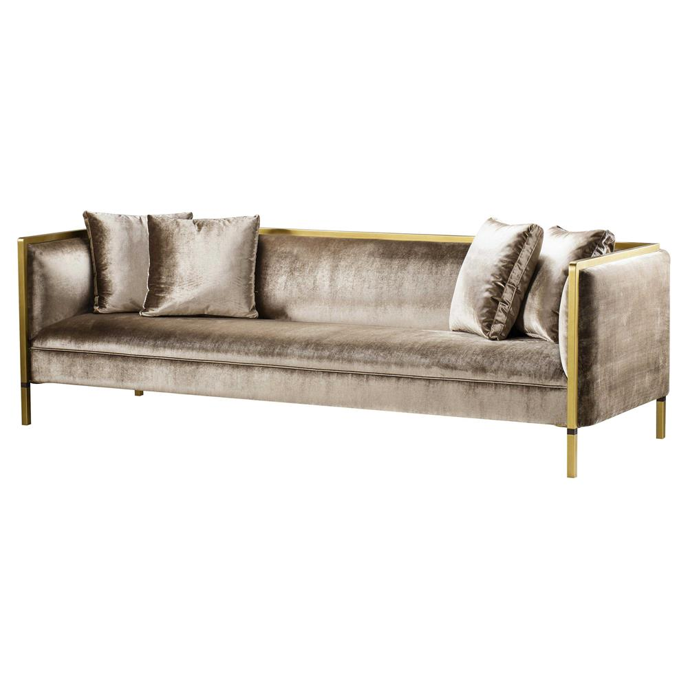 Andrew Martin Reagan Modern Classic Upholstered Wood Gold Metal
