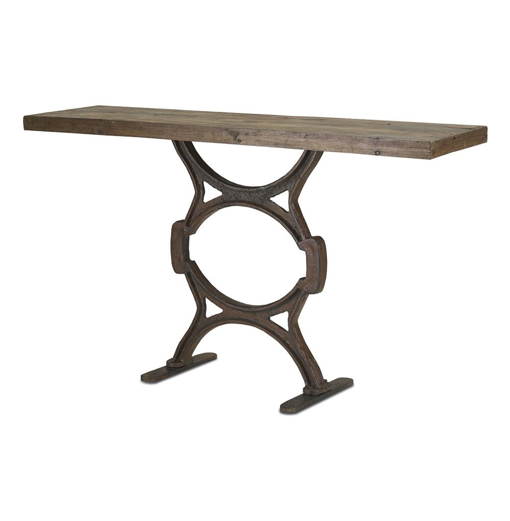 Industrial chic reclaimed wood factory console table Metal console table