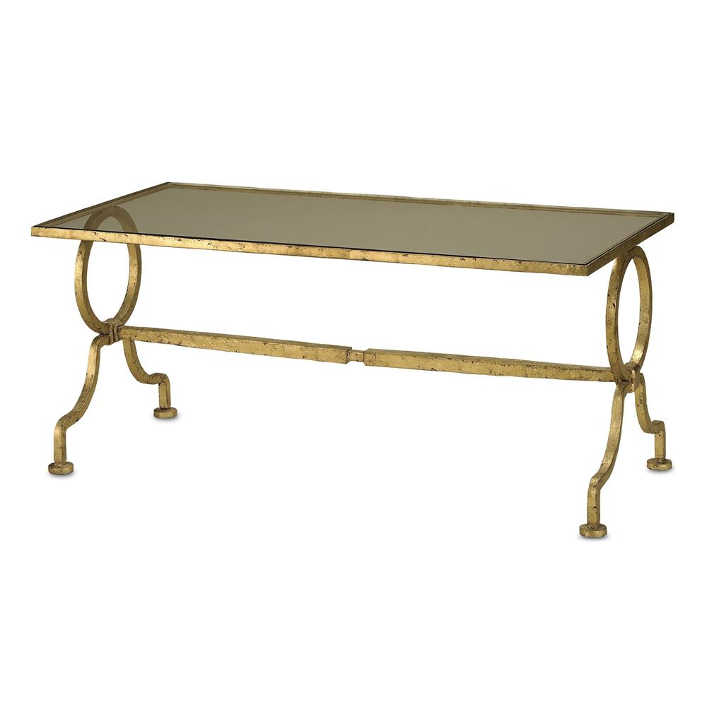 French Gold Coffee Table: Gilbert French Deco Antique Gold Leaf Glass Cocktail Table