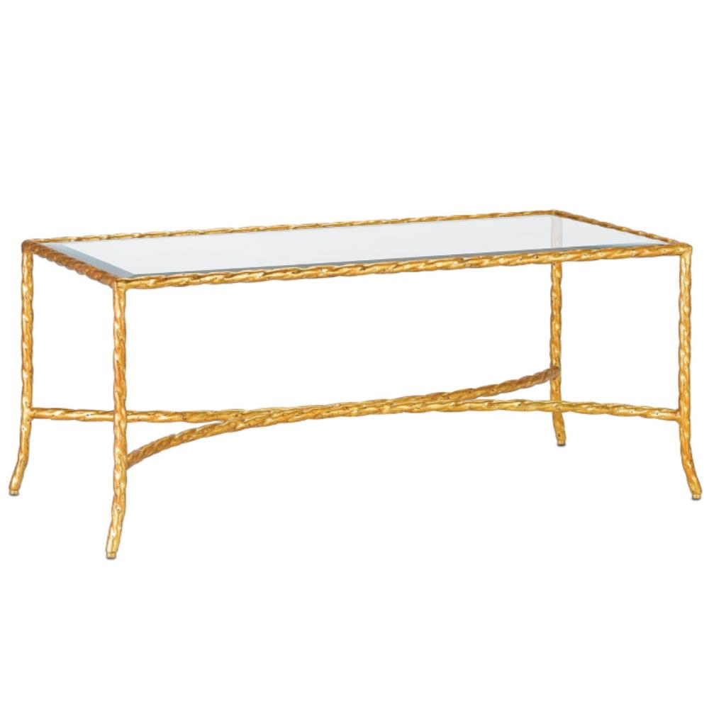 Gilt Twist French Deco Antique Gold Leaf Glass Coffee Table Kathy Kuo Home