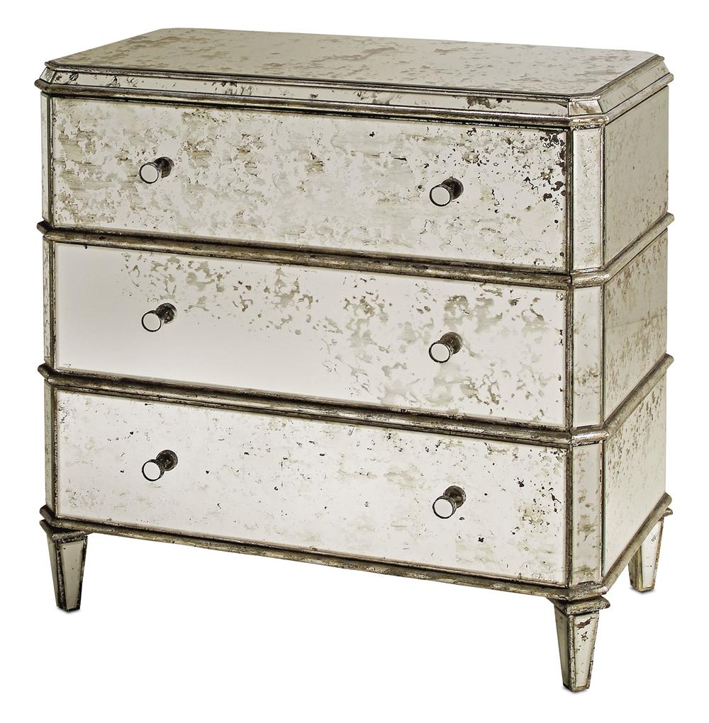 Vintage bedside table ideas - Hollywood Regency Antique Mirror Bedside Dresser Nightstand Kathy Kuo Home